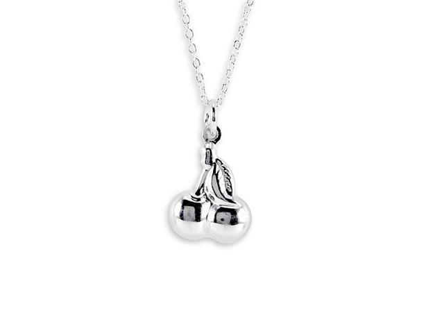 New .925 Sterling Silver Cherry Pendant Necklace