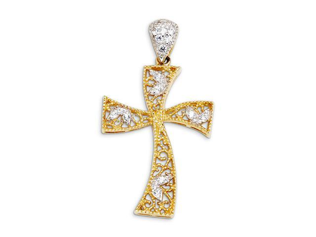 New CZ 14k Yellow White Gold Religious Cross Pendant