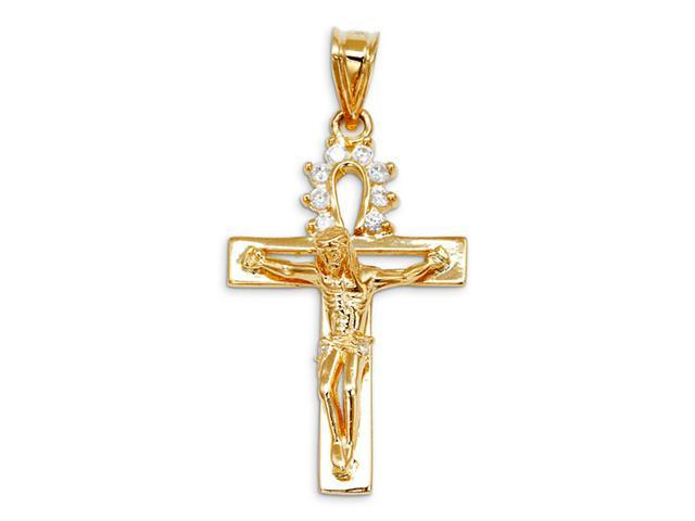 Round CZ 14k Yellow Gold Jesus Crucifix Cross Pendant