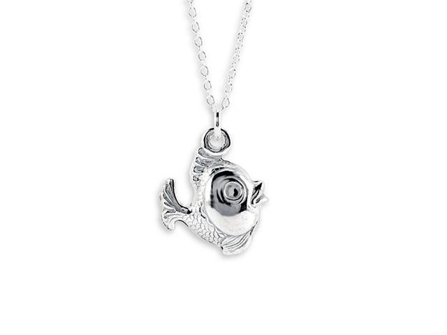 New .925 Sterling Silver Fish Pendant Charm Necklace