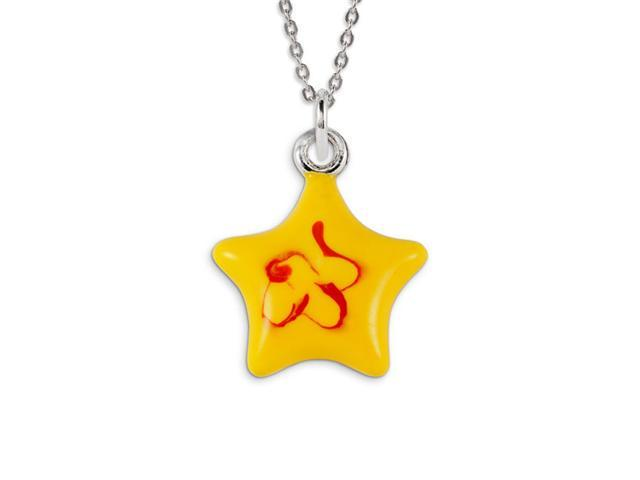 Kids 925 Sterling Silver Yellow Red Enamel Star Pendant