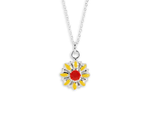 New Sterling Silver Red Yellow Flower Pendant Necklace