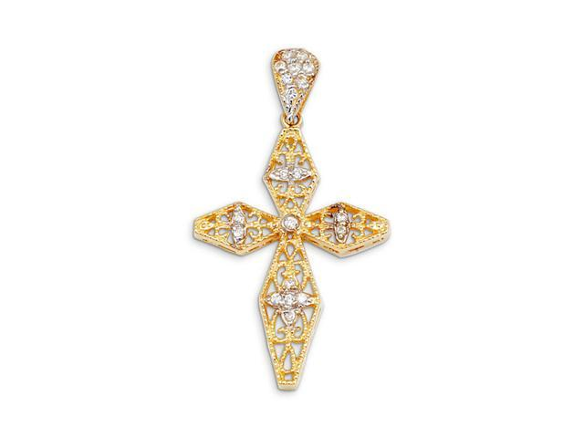 New 14k Yellow White Gold Round CZ Scroll Cross Pendant
