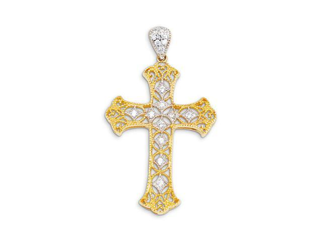New 14k Yellow White Gold Cross Round CZ Charm  Pendant