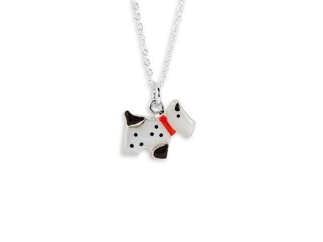 New 925 Silver Black White Enamel Dog Pendant Necklace