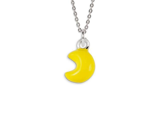 Solid .925 Sterling Silver Yellow Moon Jewelry Pendant