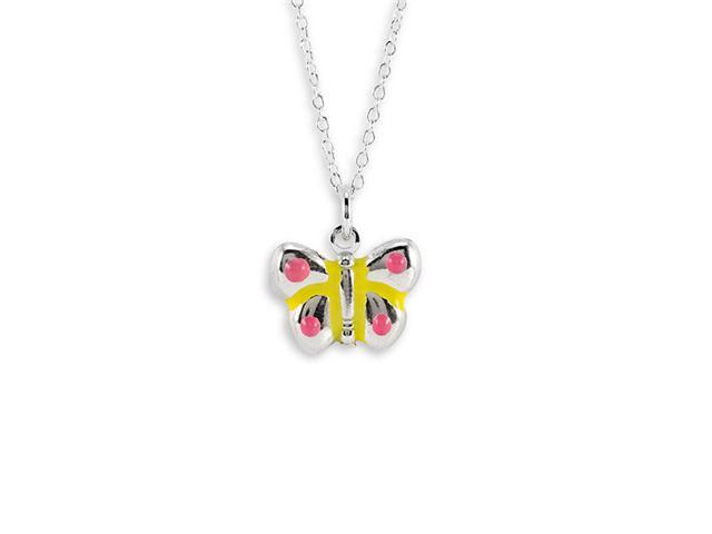 Sterling Silver Pink Yellow Butterfly Pendant Necklace