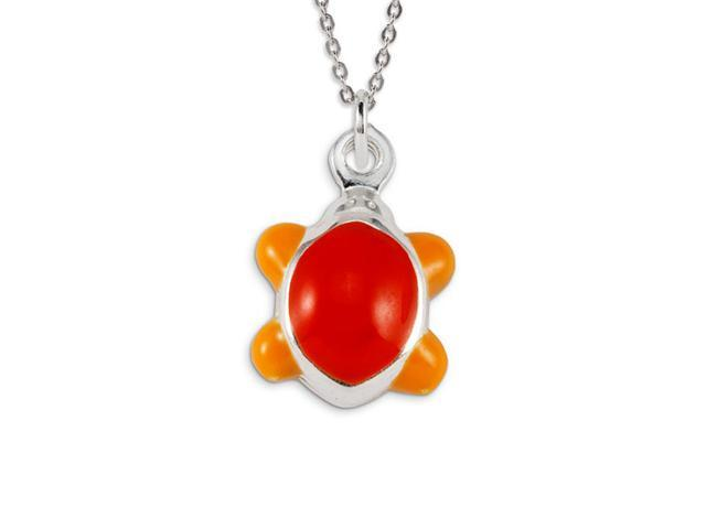 .925 Sterling Silver Red Orange Enamel Turtle Pendant
