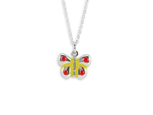 Sterling Silver Red Yellow Butterfly Pendant Necklace