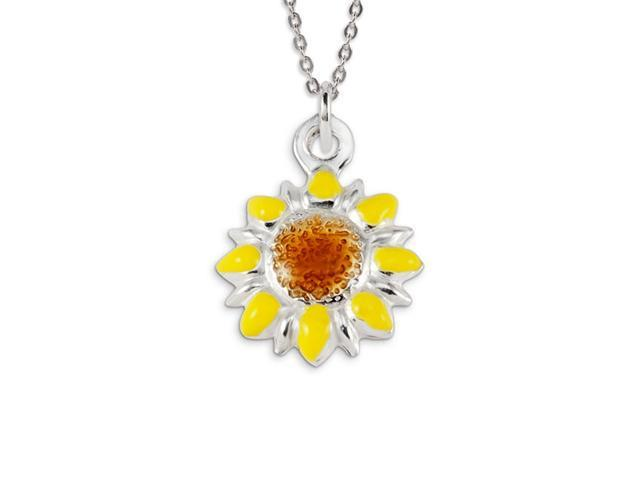 .925 Sterling Silver Brown Yellow Flower Charm Pendant