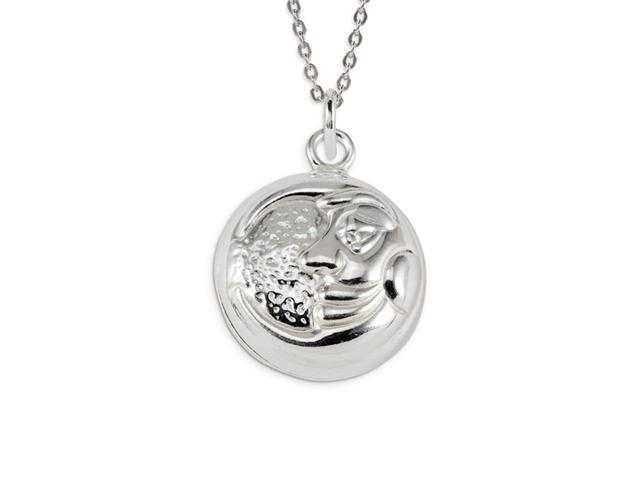 Childrens .925 Sterling Silver Sun Moon Face Charm