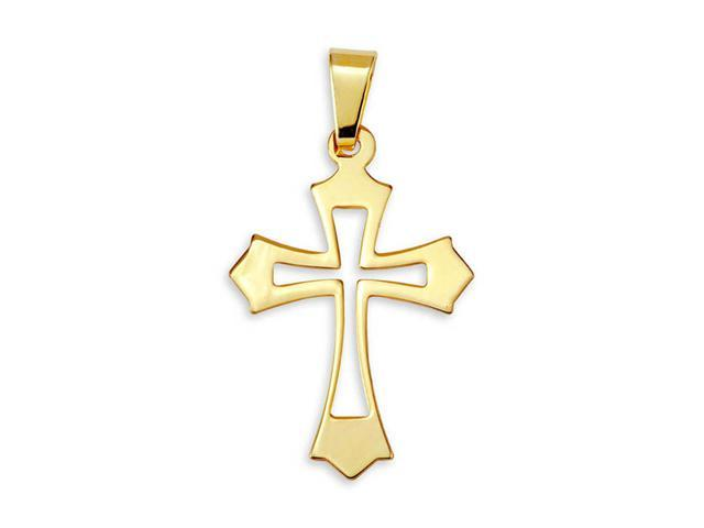 14k Bonded Gold Cut Out Cross Religious Charm Pendant