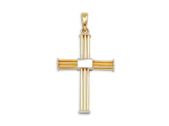 14k Yellow White Gold Triple Bar Cross Charm Pendant