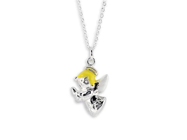 New .925 Sterling Silver Yellow Angel Charm Necklace