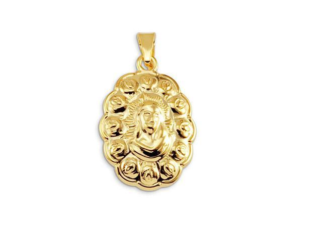 14k Gold Bonded Jesus Christ Floral Religious Pendant