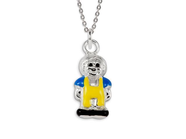 925 Sterling Silver Little Boy Yellow Blue Enamel Charm