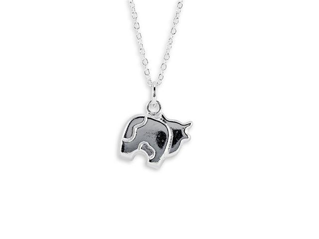 .925 Sterling Silver Chain Cow Pendant Charm Necklace