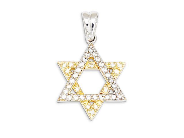 14k Yellow White Gold CZ Star of David Charm Pendant