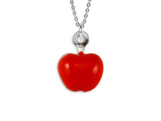 .925 Sterling Silver Red Enamel Apple Pendant Charm