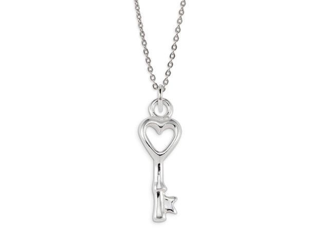 .925 Sterling Silver Love Heart Skeleton Key Pendant