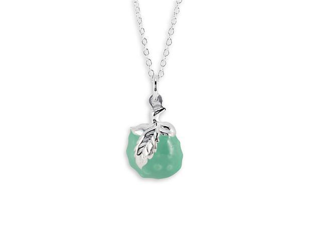 925 Sterling Silver Green Enamel Fruit Pendant Necklace