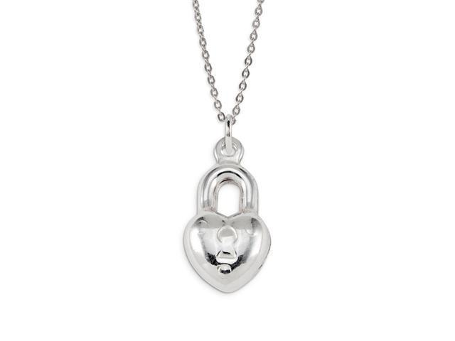 .925 Sterling Silver Heart Love Lock Charm Pendant