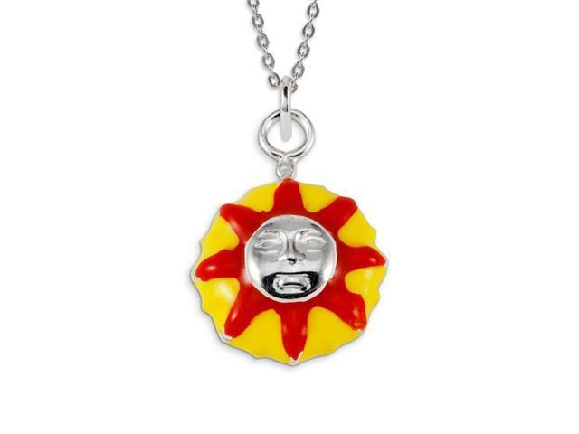 Kids .925 Sterling Silver Yellow Red Enamel Sun Charm