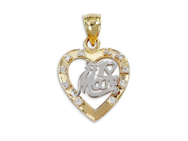 New 14k Yellow White Gold #1 Mom CZ Heart Charm Pendant