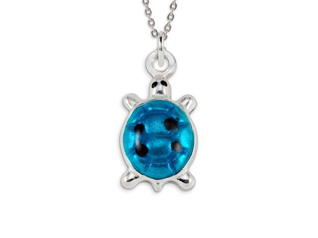 .925 Sterling Silver Blue Enamel Lucky Turtle Pendant