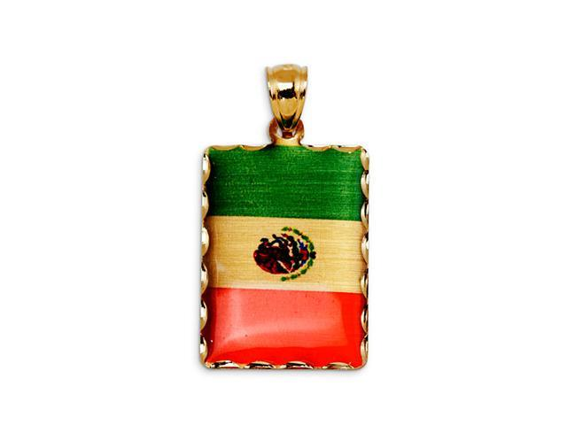 14k Yellow Gold Mexico Country Flag Laser Print Pendant