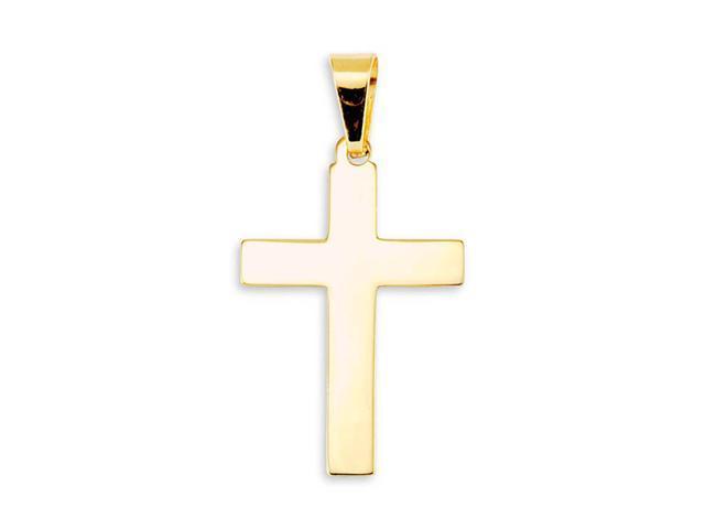 14k Bonded Gold Simple Plain Religious Cross Pendant