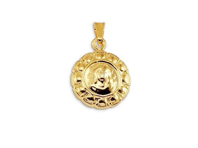 14k Bonded Gold Religious Jesus Christ Floral Pendant