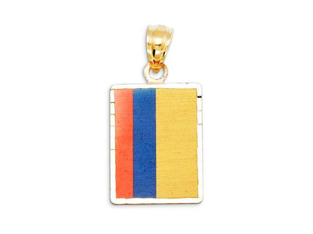 14k Yellow Gold Columbia Country Flag Charm Pendant