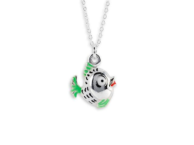 New 925 Sterling Silver Green Fish Pendant Necklace