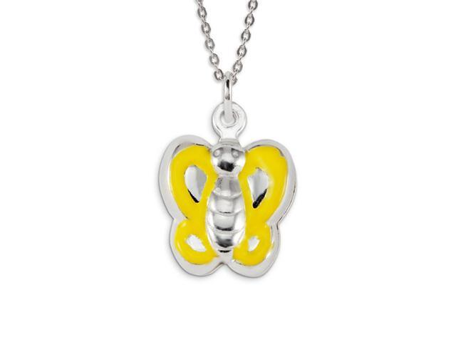 Solid .925 Sterling Silver Yellow Butterfly Pendant