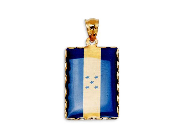 14k Yellow Gold Honduras Country Flag Charm Pendant