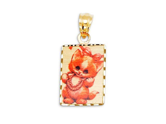 14k Yellow Gold Color Laser Print Cat Kitten Pendant