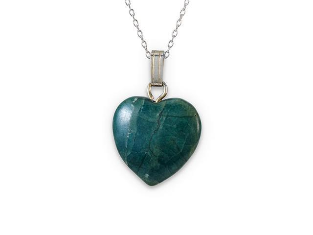 .925 Sterling Silver Green Turquoise Heart Necklace
