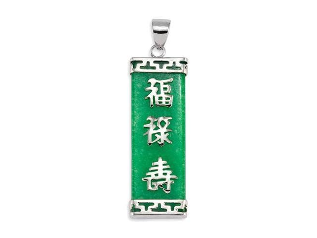 925 Sterling Silver Green Jade Good Luck Pendant