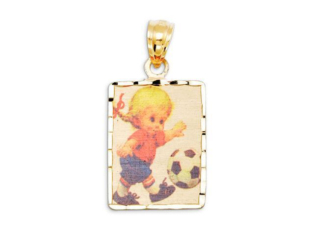 Girl Child Soccer 14k Yellow Gold Laser Print Pendant