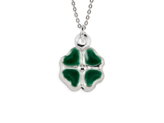 .925 Sterling Silver Green Lucky Clover Flower Pendant