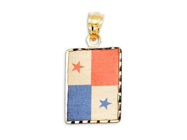 14k Yellow Gold Panama Country Flag Laser Print Pendant