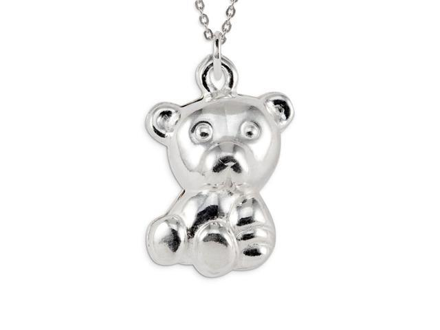 Kids .925 Sterling Silver Puffy Teddy Bear Pendant
