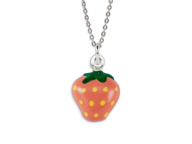 .925 Sterling Silver Pink Yellow Green Strawberry Charm