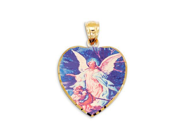 14k Yellow Gold Heart Colorful Guardian Angel Pendant