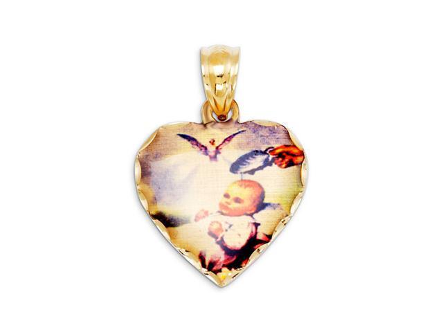 14k Yellow Gold Baby Baptism Angel Heart Charm Pendant