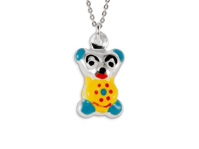 .925 Sterling Silver Blue Yellow Red Teddy Bear Pendant