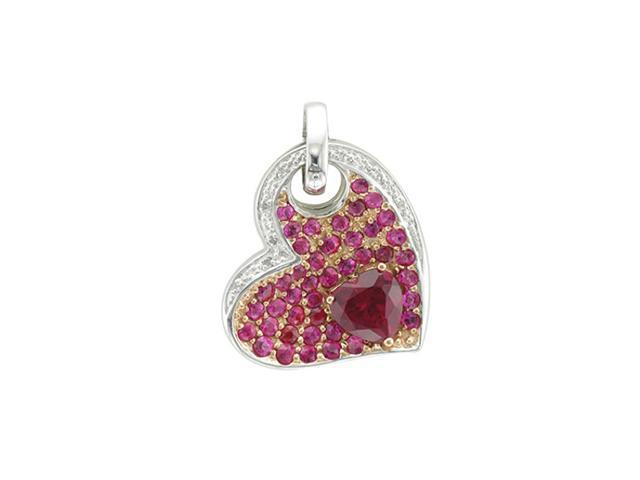 Silver Gold Plate Heart Diamond Ruby Pendant Necklace