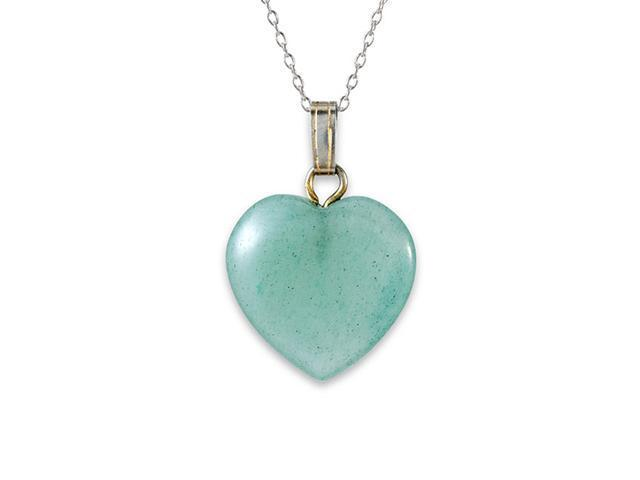 925 Sterling Silver Light Green Agate Heart Necklace