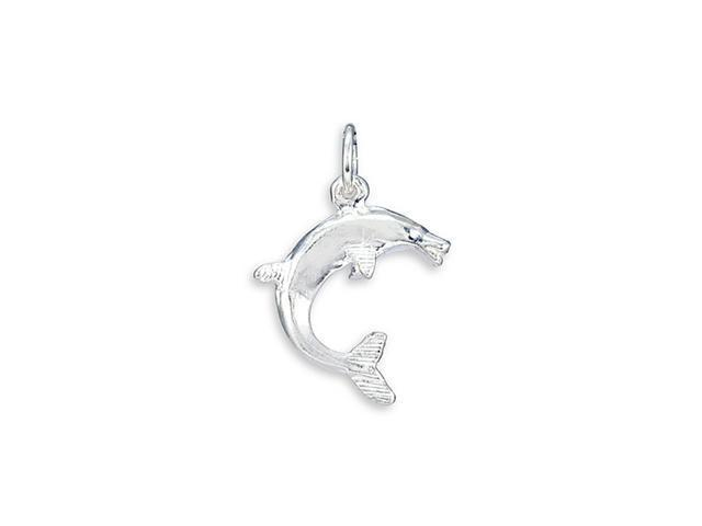 .925 Sterling Silver Jumping Dolphin Charm Pendant
